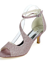 cheap -Women's Wedding Shoes Kitten Heel Open Toe Sexy Wedding Party & Evening Buckle Solid Colored Gleit White / Light Purple / Champagne