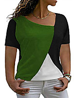 cheap -plus size womens tops shorts sleeve color block loose fit shirts plus blouse green 24w