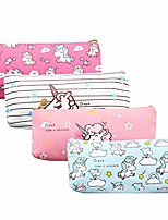 cheap -unicorn pen holder makeup bag organizer canvas pouch zipper stationery purse cute portable cosmetic bags travel small brush storage case 4pcs (marble striped)