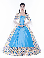 cheap -Maria Antonietta Retro Vintage Rococo Vacation Dress Dress Masquerade Women's Lace Satin Costume Blue Vintage Cosplay Party Prom Long Sleeve Floor Length Ball Gown Plus Size
