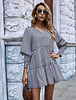 cheap -Women's A-Line Dress Short Mini Dress - Long Sleeve Check Ruched Patchwork Fall V Neck Casual Puff Sleeve Loose 2020 Black S M L XL