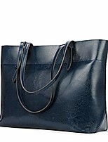 cheap -vintage genuine leather tote shoulder bag for women satchel handbag with top handles (blue)