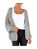 cheap -Women's Basic Knitted Solid Color Plain Cardigan Long Sleeve Loose Sweater Cardigans V Neck Fall Winter Black Blushing Pink Wine