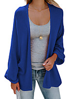 cheap -Women's Basic Long Knitted Solid Color Plain Cardigan Long Sleeve Sweater Cardigans Open Front Spring Fall Blue Army Green Gray