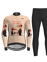 cheap -21Grams Men's Long Sleeve Cycling Jersey with Tights Khaki Bird Bike Breathable Quick Dry Moisture Wicking Sports Letter & Number Mountain Bike MTB Road Bike Cycling Clothing Apparel / Micro-elastic