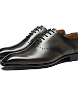 cheap -Men's Spring / Fall Business / Vintage Party & Evening Office & Career Oxfords Cowhide Wear Proof Black / Gray / Coffee