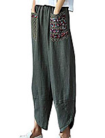 cheap -womens baggy casual trousers cotton linen loose harlan pants elastic waist