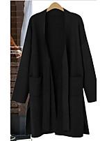 Недорогие -Жен. Наступила зима V-образный вырез Пальто Длинная Однотонный Повседневные Классический Хлопок Черный Коричневый M L XL XXL