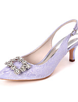 cheap -Women's Wedding Shoes Kitten Heel Pointed Toe Sweet Wedding Party & Evening Rhinestone Floral Lace White / Light Purple / Ivory