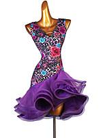 cheap -Latin Dance Dress Cascading Ruffles Split Joint Women's Training Sleeveless High Satin Ice Silk