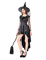 cheap -Witch Dress Cosplay Costume Party Costume Adults' Women's Cosplay Vacation Dress Halloween Halloween Festival / Holiday Polyester Black Women's Easy Carnival Costumes / Hat / Hat