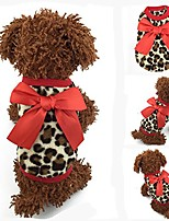 cheap -new soft warm winter red/pink bow-knot leopard dogs pet clothing puppy sweater (xxs, red)