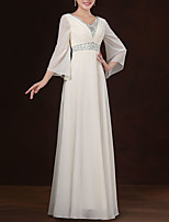 cheap -A-Line Elegant Minimalist Wedding Guest Formal Evening Dress V Neck 3/4 Length Sleeve Floor Length Chiffon with Pleats Beading 2020
