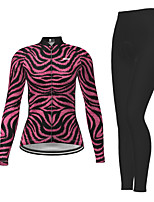 cheap -Women's Long Sleeve Cycling Jersey with Tights Purple Zebra Bike Breathable Quick Dry Moisture Wicking Sports Zebra Mountain Bike MTB Road Bike Cycling Clothing Apparel / Micro-elastic