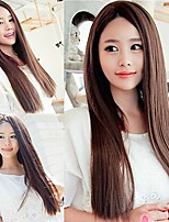 cheap -Synthetic Wig Straight Middle Part Wig Very Long Brown Red Royal Blue Synthetic Hair 26 inch Women's Cosplay Party Middle Part Blue Brown