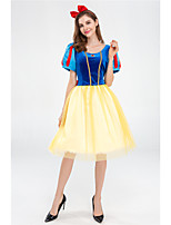 cheap -Princess Dress Masquerade Flower Girl Dress Women's Movie Cosplay A-Line Slip Vacation Dress Blue Dress Headwear Children's Day Masquerade Polyester Organza