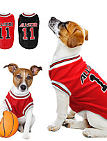 cheap -Dog Shirt / T-Shirt Jersey Vest Baseball National Team Sports & Outdoors Sports Outdoor Dog Clothes Breathable Red+Black Red Costume Polyster S M L XL XXL