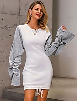 cheap -Women's Sheath Dress Short Mini Dress - Long Sleeve Color Block Patchwork Fall Casual Slim 2020 White S M L