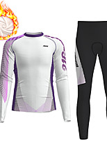 cheap -21Grams Men's Long Sleeve Cycling Jersey with Tights Winter Fleece Polyester White Gradient Geometic Bike Clothing Suit Thermal Warm Fleece Lining Breathable 3D Pad Warm Sports Gradient Mountain Bike