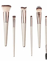 cheap -makeup brushes set 6 pieces wood handle premium synthetic hair professional champagne gold kabuki brush foundation blending face concealer cosmetic brush set