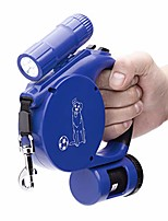 cheap -retractable dog leash with led flashlight & waste bag dispenser (all-in-one leash) - for small/medium dogs up to 20 kg (color: blue)