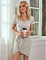 cheap -Women's Tshirt Dress Solid Colored Patchwork V Neck Tops Slim Basic Basic Top Light gray