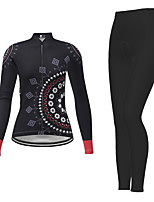cheap -21Grams Men's Women's Long Sleeve Cycling Jersey with Tights Winter Polyester Black Novelty Bike Jersey Tights Clothing Suit Breathable Quick Dry Moisture Wicking Back Pocket Sports Novelty Mountain