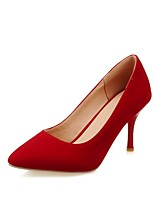 cheap -Women's Heels Stiletto Heel Pointed Toe Classic Daily Solid Colored Nubuck Black / Red / Blue