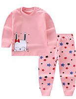 cheap -Kids Girls' Basic Daily Rabbit Cartoon Print Long Sleeve Regular Clothing Set Blushing Pink