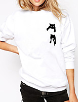 cheap -Women's Sweatshirt Cartoon Crew Neck Cat Sport Athleisure Pullover Long Sleeve Warm Soft Comfortable Everyday Use Daily General Use