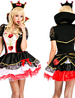 cheap -Alice's Adventures in Wonderland Queen of Hearts Dress Cosplay Costume Masquerade Women's Movie Cosplay Cosplay Vacation Dress Halloween Black Dress Cloak Hat Halloween Carnival Masquerade Polyester