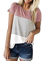 cheap -Women's T-shirt Striped Patchwork Round Neck Tops Loose Basic Basic Top Black Purple Blushing Pink