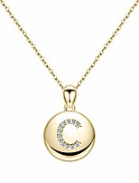 cheap -gold c initial necklace for women, 14k gold plated disc initial necklace for women monogram necklace oversized initial necklace jewelry bridesmaids gifts for granddaughter
