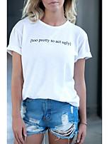 cheap -Women's T-shirt Letter Print Round Neck Tops 100% Cotton Basic Basic Top White
