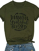 cheap -thankful letter print thanksgiving t shirt womens funny cute leaves graphic short slevee fall tee tops army green