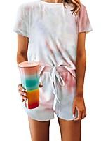 cheap -Women's Basic Tie Dye Two Piece Set T-shirt Blouse Pant Loungewear Drawstring Tops