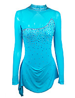 cheap -Figure Skating Dress Women's Girls' Ice Skating Dress Navy Patchwork Spandex High Elasticity Training Competition Skating Wear Handmade Crystal / Rhinestone Long Sleeve Ice Skating Winter Sports