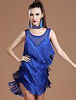 cheap -Latin Dance Dress Tassel Tiered Crystals / Rhinestones Women's Training Performance Sleeveless Milk Fiber