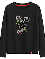 cheap -Women's Sweatshirt Cartoon Crew Neck Cotton Flower Sport Athleisure Pullover Long Sleeve Warm Soft Comfortable Everyday Use Exercising General Use
