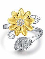 cheap -sterling silver you are my sunshine sunflower cz heart ring adjustable size 8