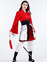 cheap -Princess Mulan Masquerade Flower Girl Dress Women's Movie Cosplay Cosplay Costume Party Vacation Dress Red Coat Top Pants Carnival Masquerade Polyester / Waist Belt / Waist Belt