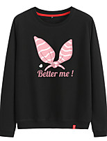 cheap -Women's Sweatshirt Artistic Style Crew Neck Cotton Cartoon Letter Printed Sport Athleisure Pullover Long Sleeve Warm Soft Comfortable Everyday Use Exercising General Use
