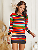 cheap -Women's Shift Dress Short Mini Dress - Long Sleeve Rainbow Print Fall Casual Slim 2020 Rainbow S M L XL XXL