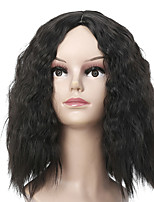 cheap -Synthetic Wig Curly Loose Curl Middle Part Wig Short Black Synthetic Hair 26 inch Women's Classic Exquisite Fluffy Black