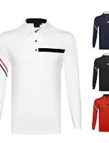 cheap -Men's Golf Polo Shirts Long Sleeve Autumn / Fall Spring Winter UV Sun Protection Breathable Quick Dry Cotton Solid Color White Black Red Royal Blue / Stretchy
