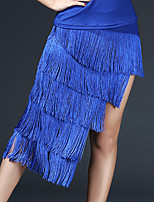 cheap -Latin Dance Skirts Tassel Solid Tiered Women's Training Performance Nylon