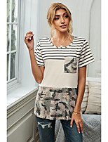 cheap -Women's T-shirt Striped Camouflage Patchwork Button Print Round Neck Tops Basic Basic Top White
