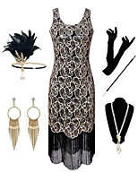 cheap -The Great Gatsby Vintage 1920s Flapper Dress Outfits Masquerade Women's Tassel Fringe Costume Silver Vintage Cosplay Party Prom / Gloves / Headwear / Necklace / Earrings / Cigarette Stick