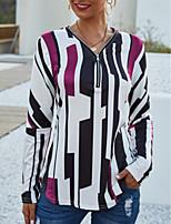 cheap -Women's T-shirt Striped Long Sleeve Patchwork Print V Neck Tops Basic Basic Top Blue Purple Red