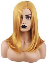 cheap -Synthetic Wig Straight Natural Straight Asymmetrical Wig Medium Length Yellow Synthetic Hair 18 inch Women's Fashionable Design Classic Exquisite Yellow